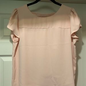 LOFT Soft Pink Tulip Sleeve Bar-Back Top